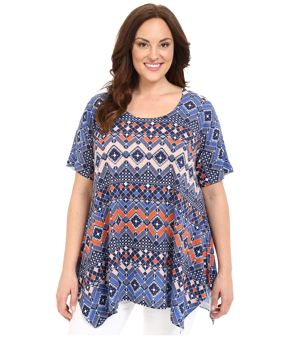 Nally & Millie - Plus Size Tile Print Tunic (Blue Multi) Women's Blouse