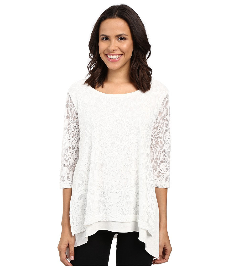 Nally & Millie - Lace Layered Tunic with Side Slits (Cream) Women's Blouse
