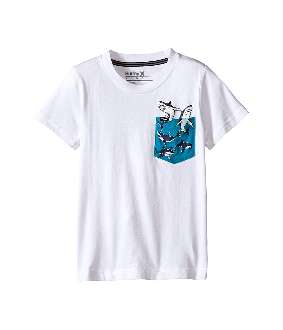 Hurley Kids - Pocket Play Tee (Little Kids) (White/Turbo Green) Boy's T Shirt