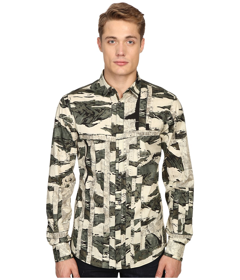 Just Cavalli - Slim Fit Camowork Pring Woven Shirt (Nut Variant) Men's Clothing