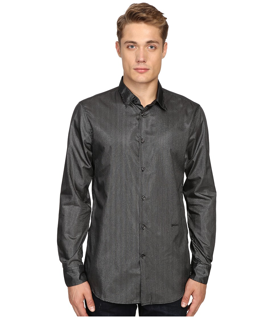Just Cavalli - Regular Fit Leather Effect Woven Shirt (Black/Silver) Men's Clothing