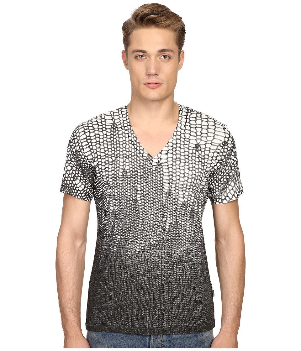 Just Cavalli Slim Fit Scale V-Neck T-Shirt (Papyrus) Men