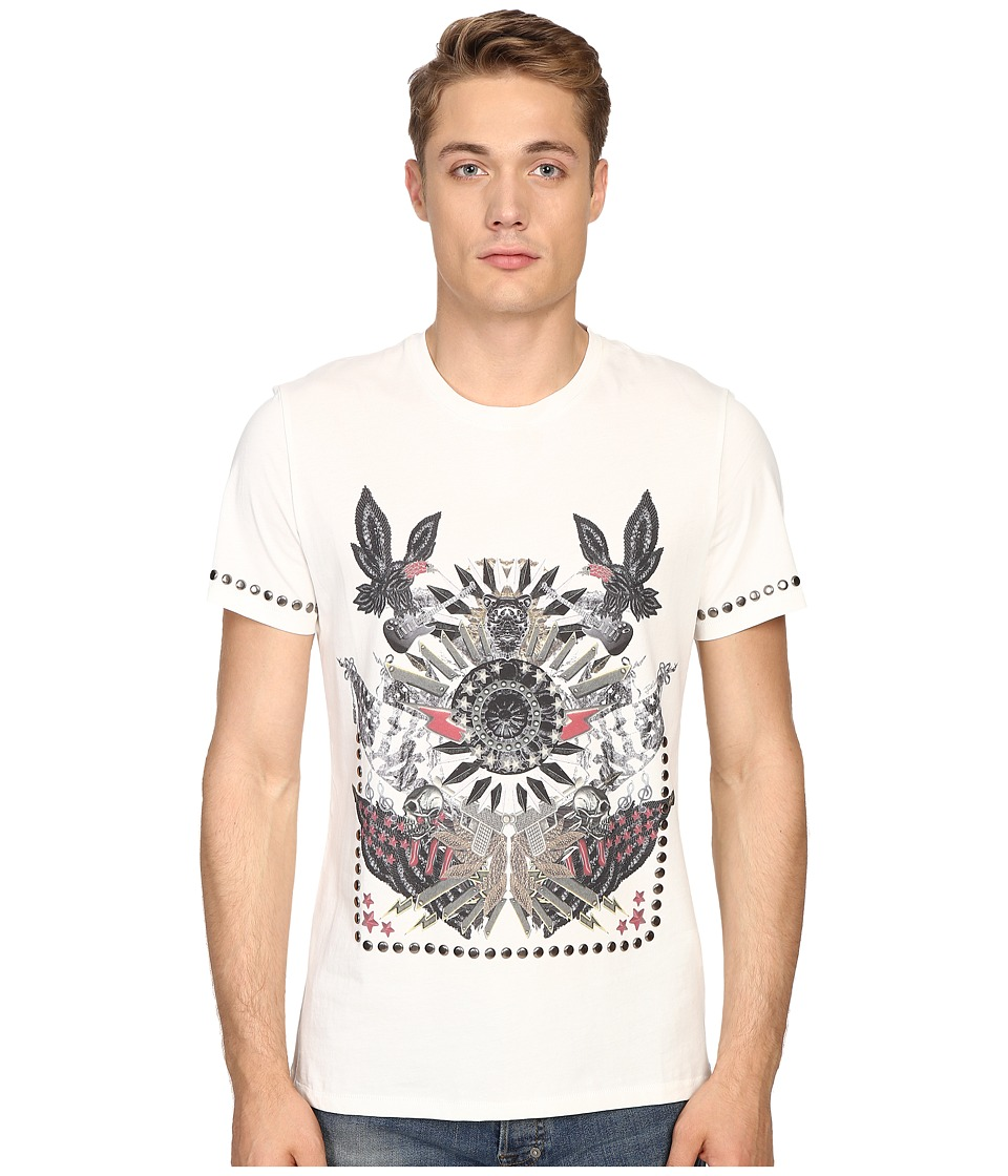 Just Cavalli - Slim Fit Abstract Print Jersey T-Shirt (Papyrus) Men's T Shirt