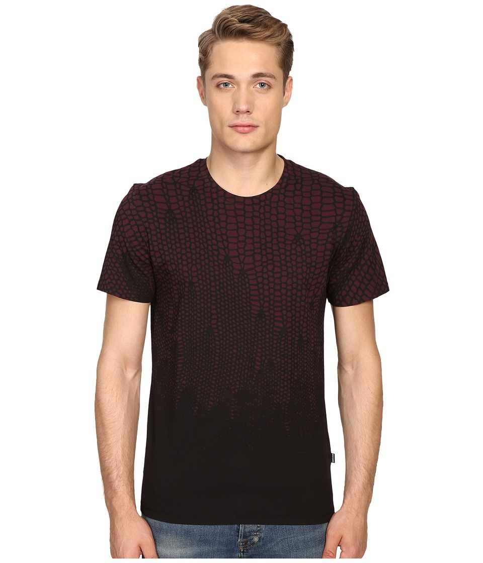 Just Cavalli - Slim Fit Scale T-Shirt (Wine) Men's T Shirt