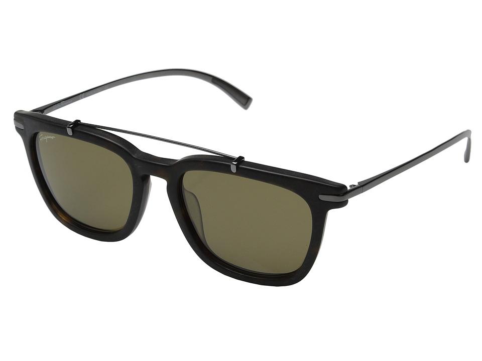 Salvatore Ferragamo - SF820SM (Matte Havana/Green) Fashion Sunglasses
