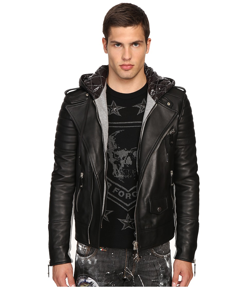 Philipp Plein - Leather Hey You Jacket (Black) Men's Coat