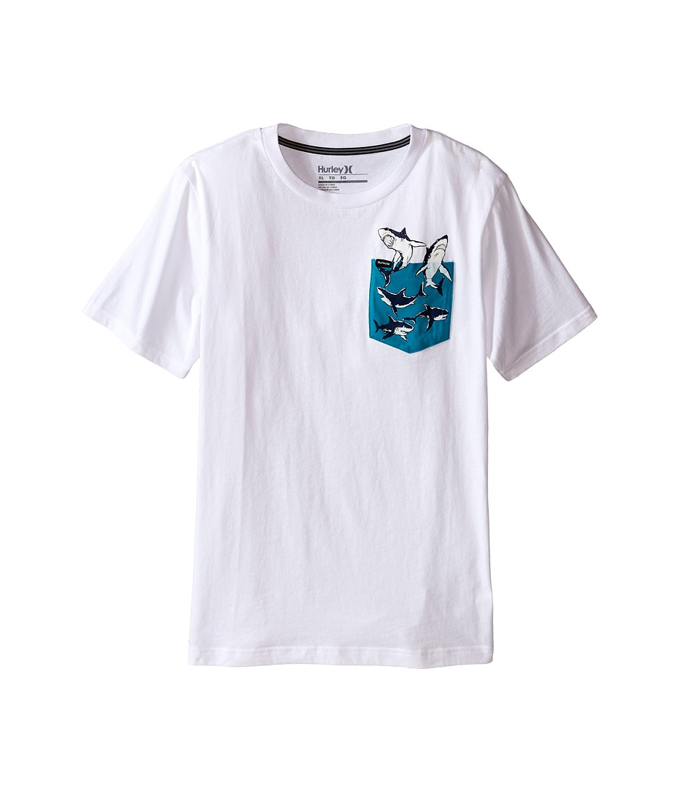 Hurley Kids - Pocket Play Tee (Big Kids) (White/Turbo Green) Boy's T Shirt