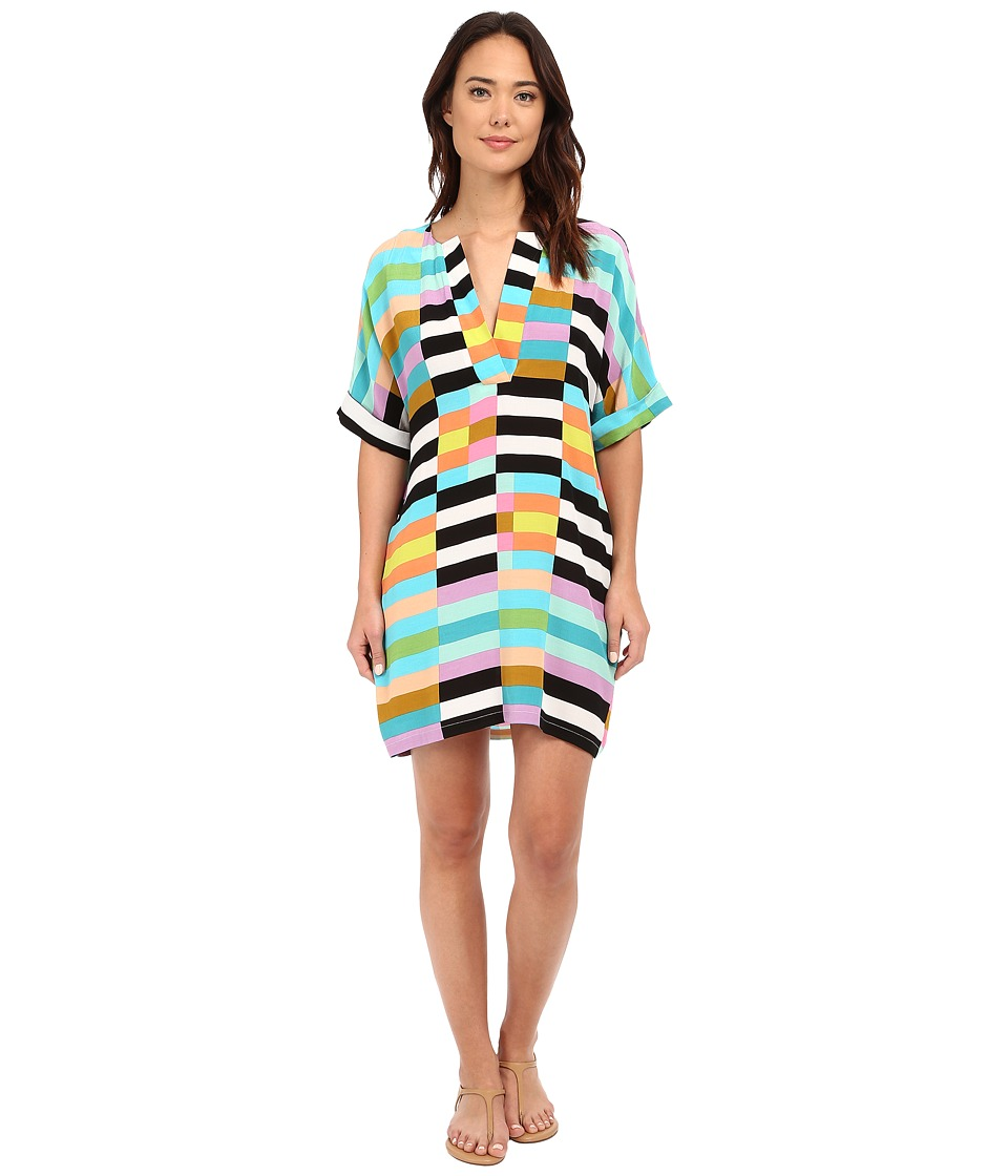 Mara Hoffman - Flag Stripe Shirtdress (Black Multi) Women's Dress