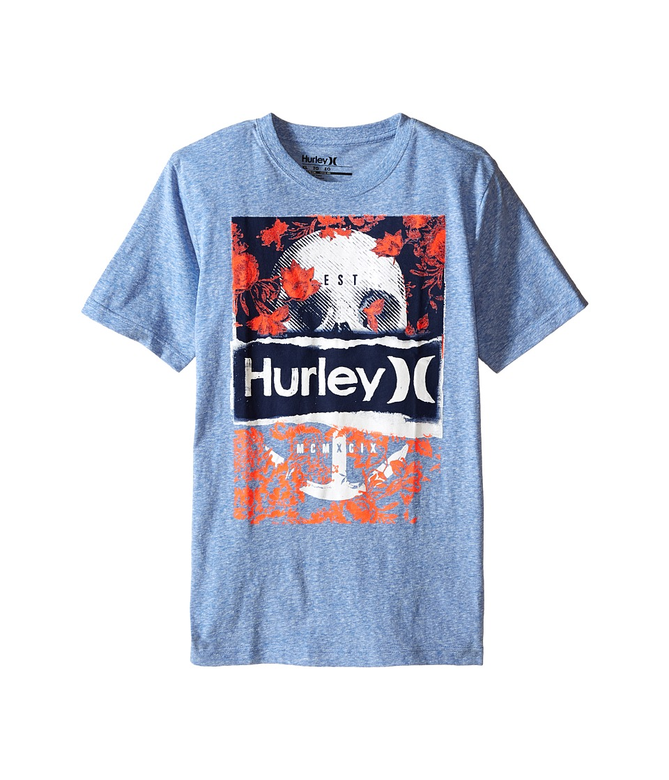 Hurley Kids - Sea Dreams Tee (Big Kids) (Royal Snow Heather) Boy's T Shirt