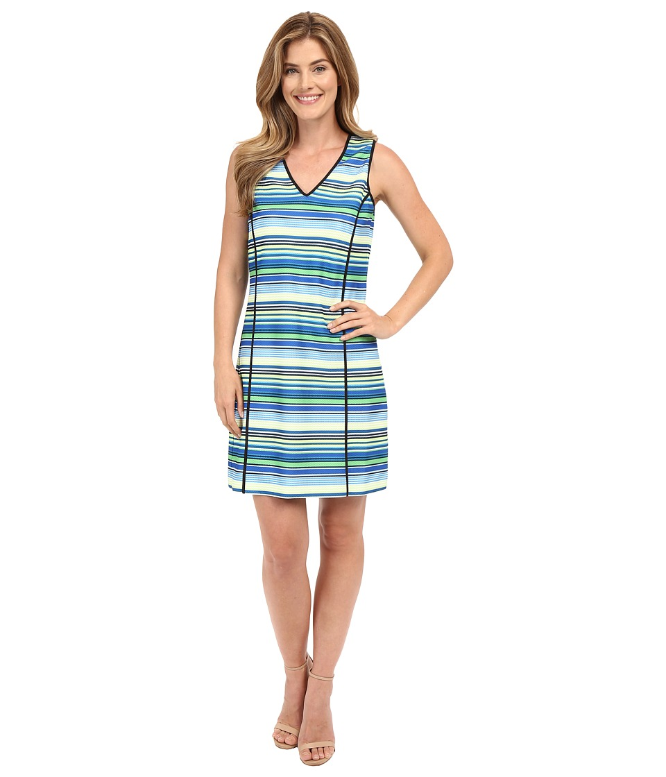 Adrianna Papell - Print V-Neck Sleeveless Shift Dress (Blue Multi) Women's Dress
