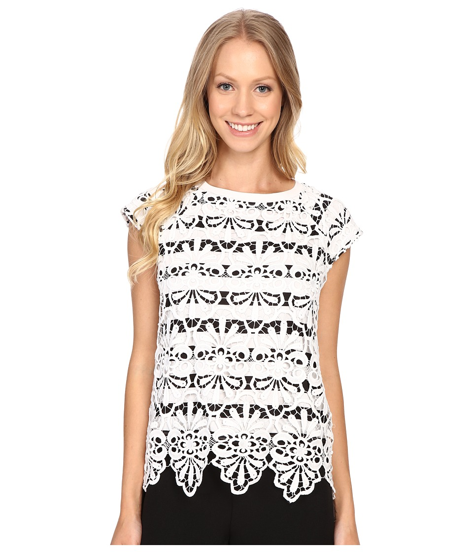 Adrianna Papell - Lace Overlay Top w/ Stripe Underneath (White) Women's Short Sleeve Pullover