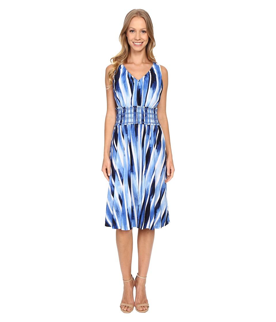Adrianna Papell - Sleeveless Smocking Waist Fit Flare Dress (Deep Ocean) Women's Dress