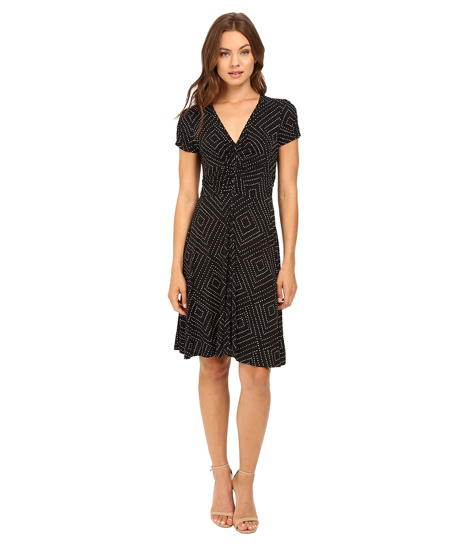 Adrianna Papell - Short Sleeve Center Ruched Shirtdress (Black/Buff) Women's Dress
