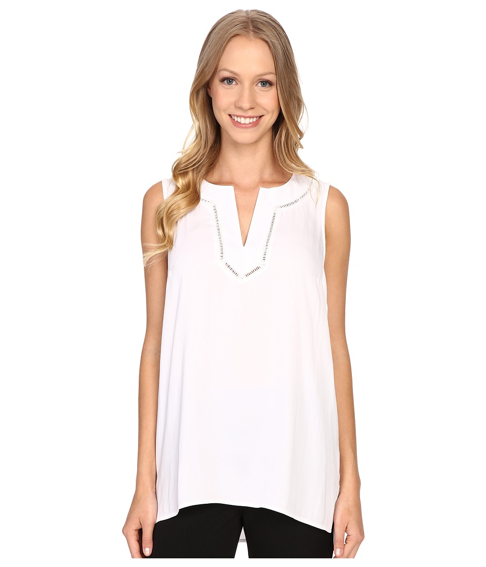 Adrianna Papell - Habotai Sleeveless Blouse w/ Fagotting (White) Women's Blouse