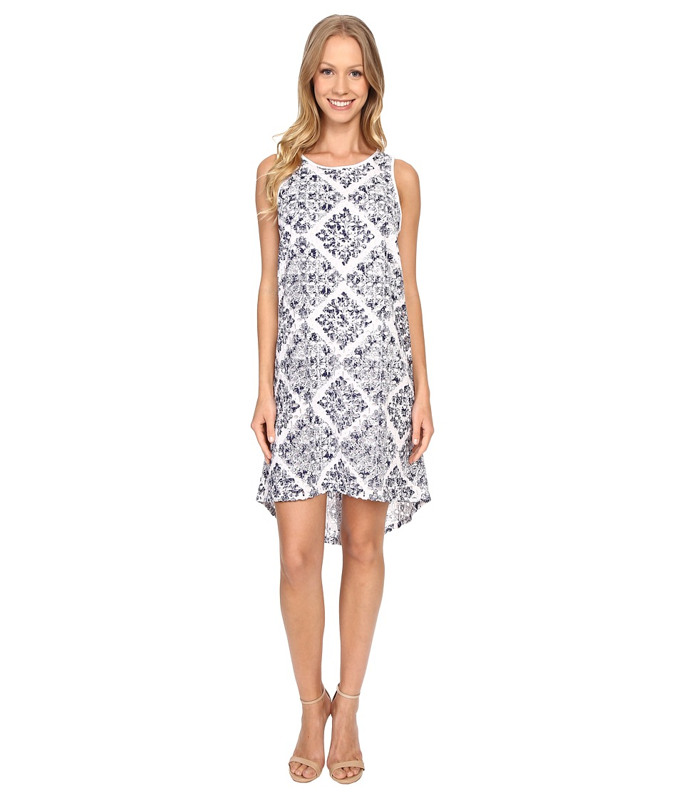 Adrianna Papell - Print Embroidered Eyelet Dress (Blue Multi) Women's Dress