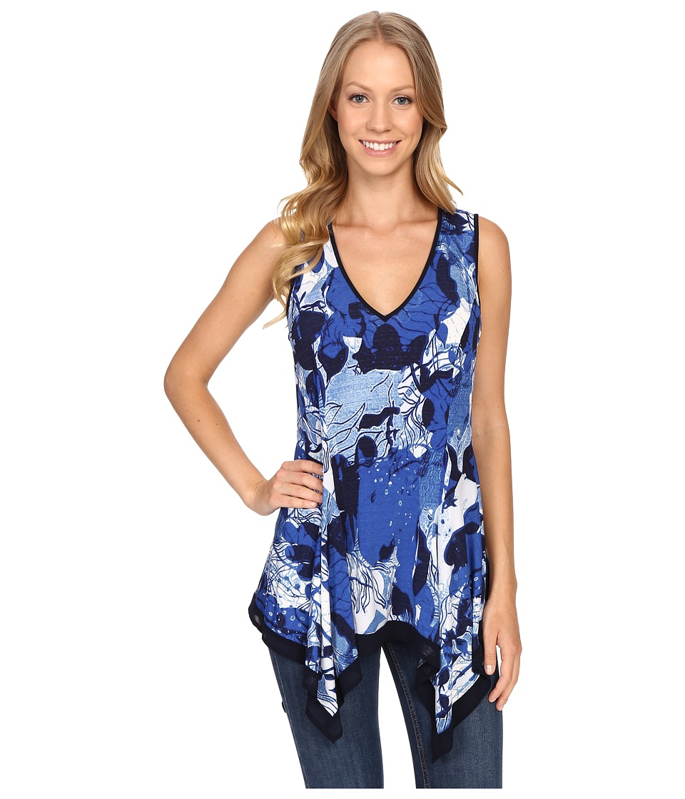 Adrianna Papell - Sleeveless Side Shark Bite Top (Blue Multi) Women's Sleeveless