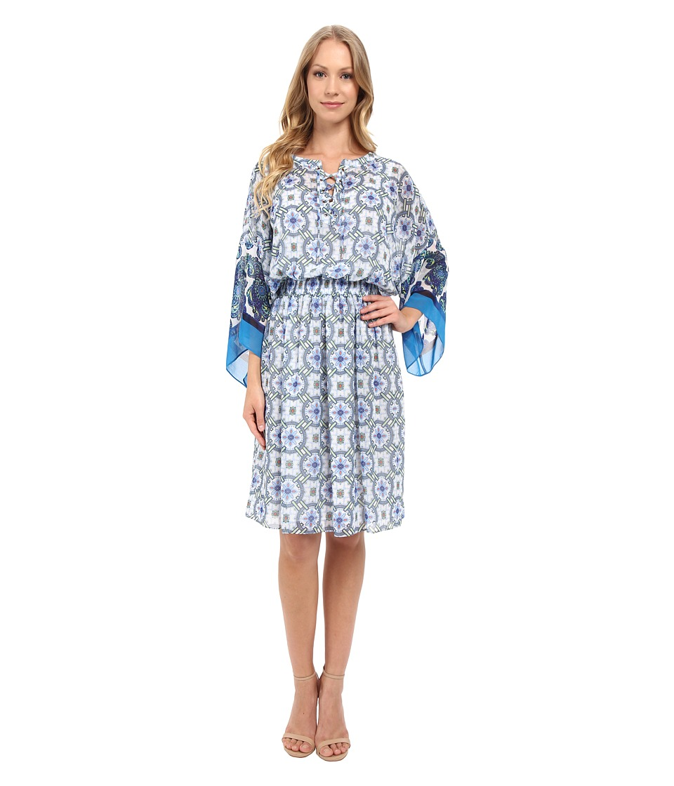 Adrianna Papell - Print Chiffon Loose Fit Dress (Blue Multi) Women's Dress