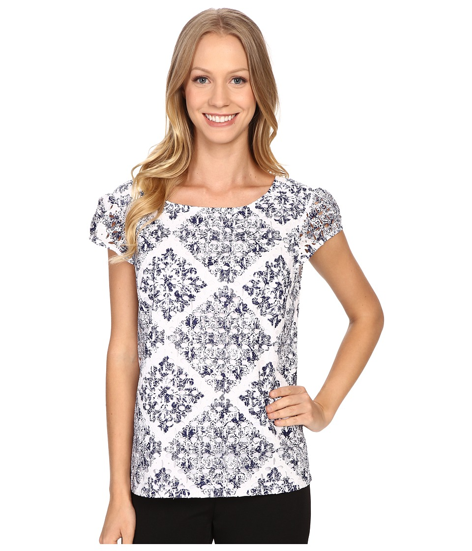 Adrianna Papell - Print Embroidered Eyelet Blouse (Blue Multi) Women