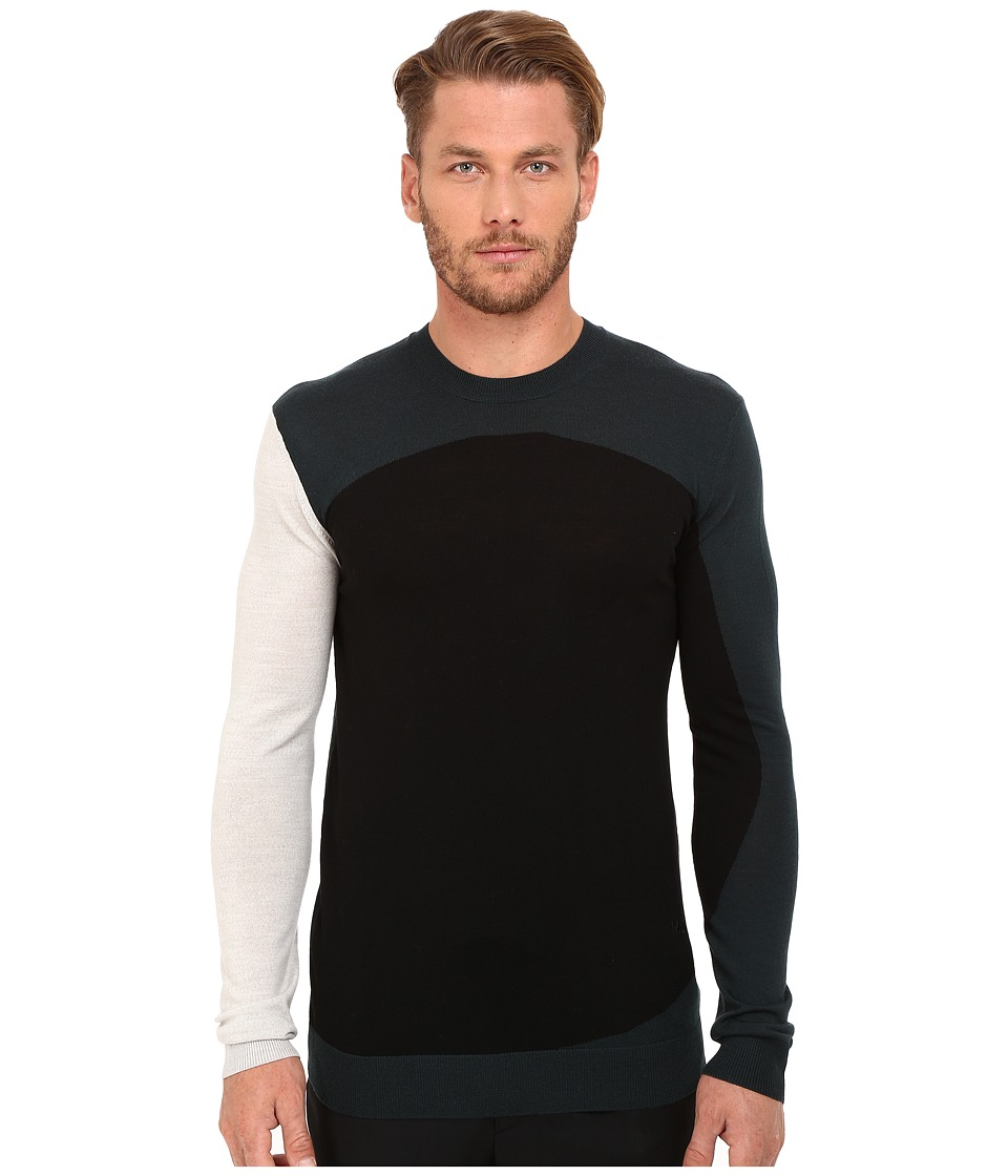 McQ - Colour Block Crew Neck (Grey/Viridian/Black) Men's Long Sleeve Pullover