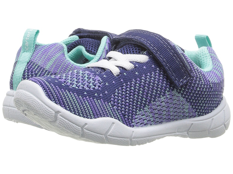 Carters - Walker 2-G (Toddler/Little Kid) (Purple/Navy/Turquiose) Girl's Shoes