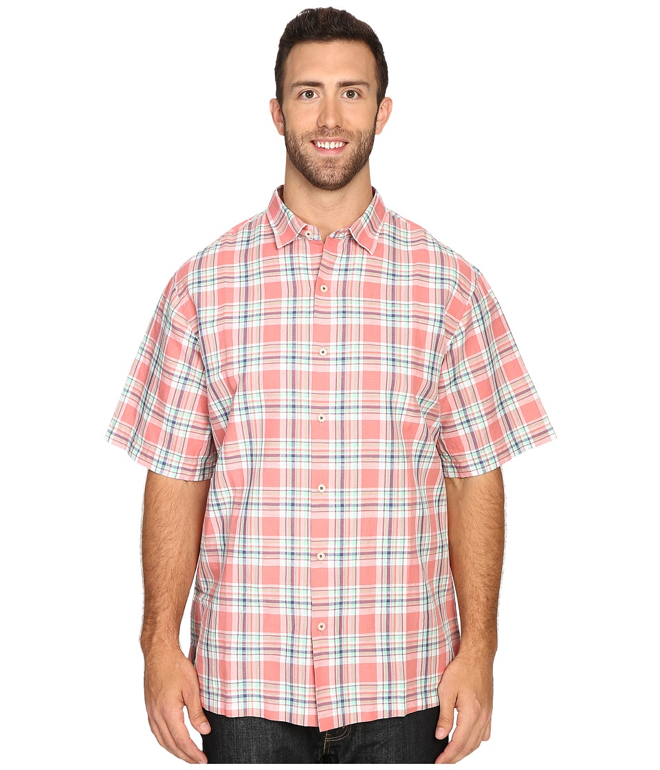 Tommy Bahama Big & Tall - Big Tall Maduro Plaid Short Sleeve (Red Sunset) Men's Clothing