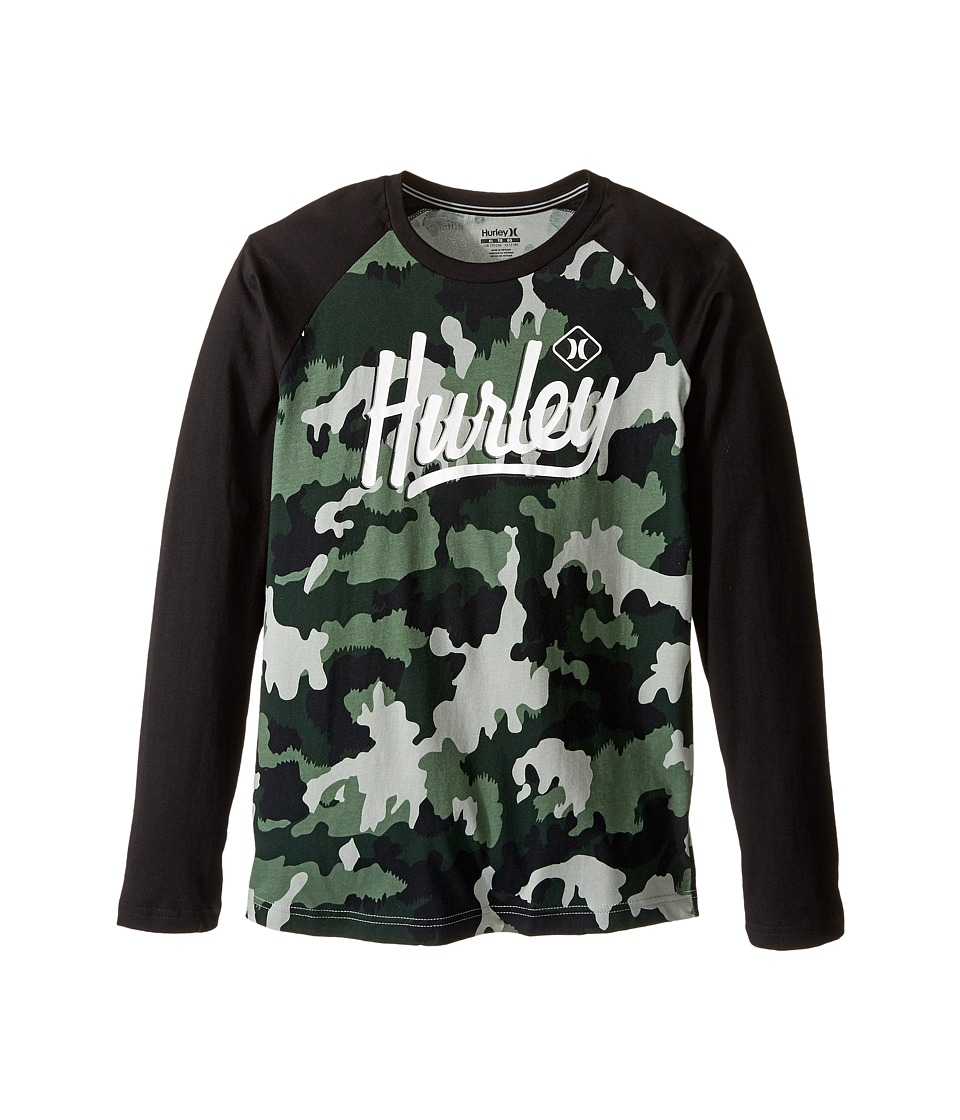 Hurley Kids Athletic Raglan Tee (Big kids) (Green Camo) Boy