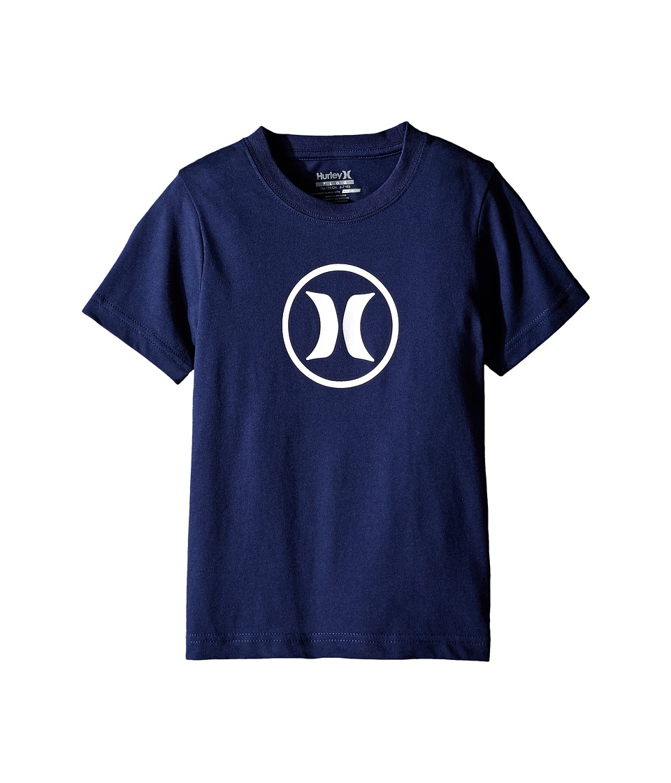 Hurley Kids - Dri Fit Icon Tee (Little Kids) (Midnight Navy) Boy's T Shirt