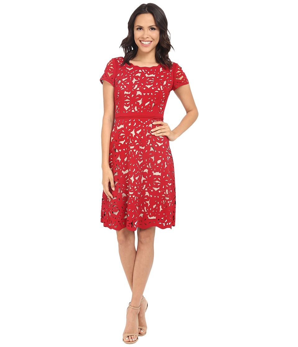 NUE by Shani - Laser Cutting Fit and Flare Dress (Red/Nude) Women's Dress