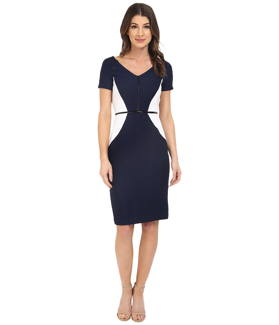 NUE by Shani - V-Neckline Color Blocking Ottoman Dress (Navy) Women's Dress