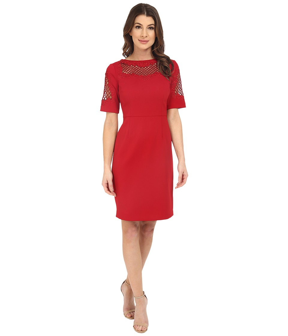 NUE by Shani - Crepe Dress with Embroidery Detail (Red) Women's Dress