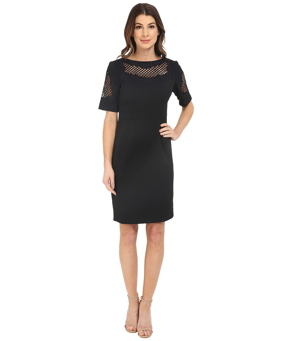 NUE by Shani - Crepe Dress with Embroidery Detail (Black) Women's Dress