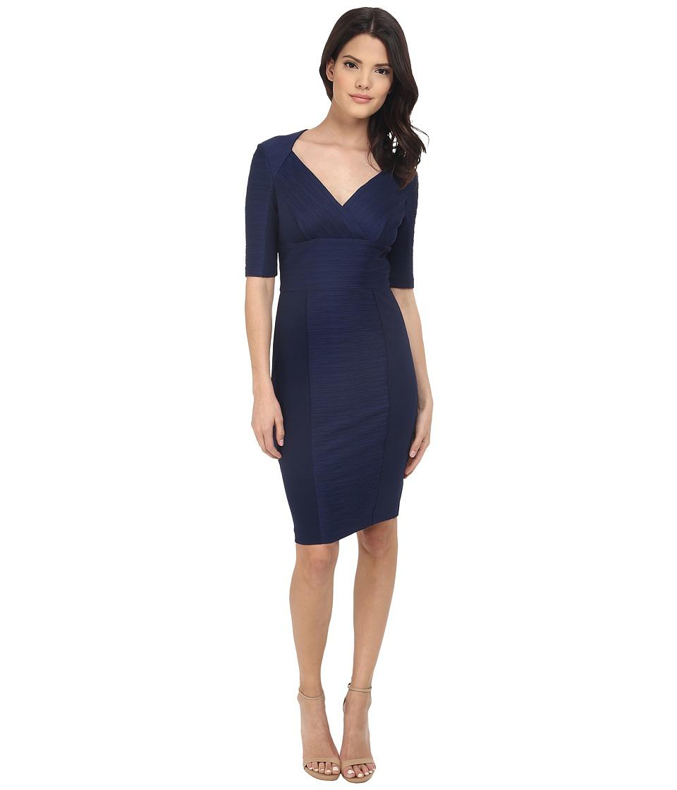 NUE by Shani - Cross-Over V-neck Knit Dress (Navy) Women's Dress