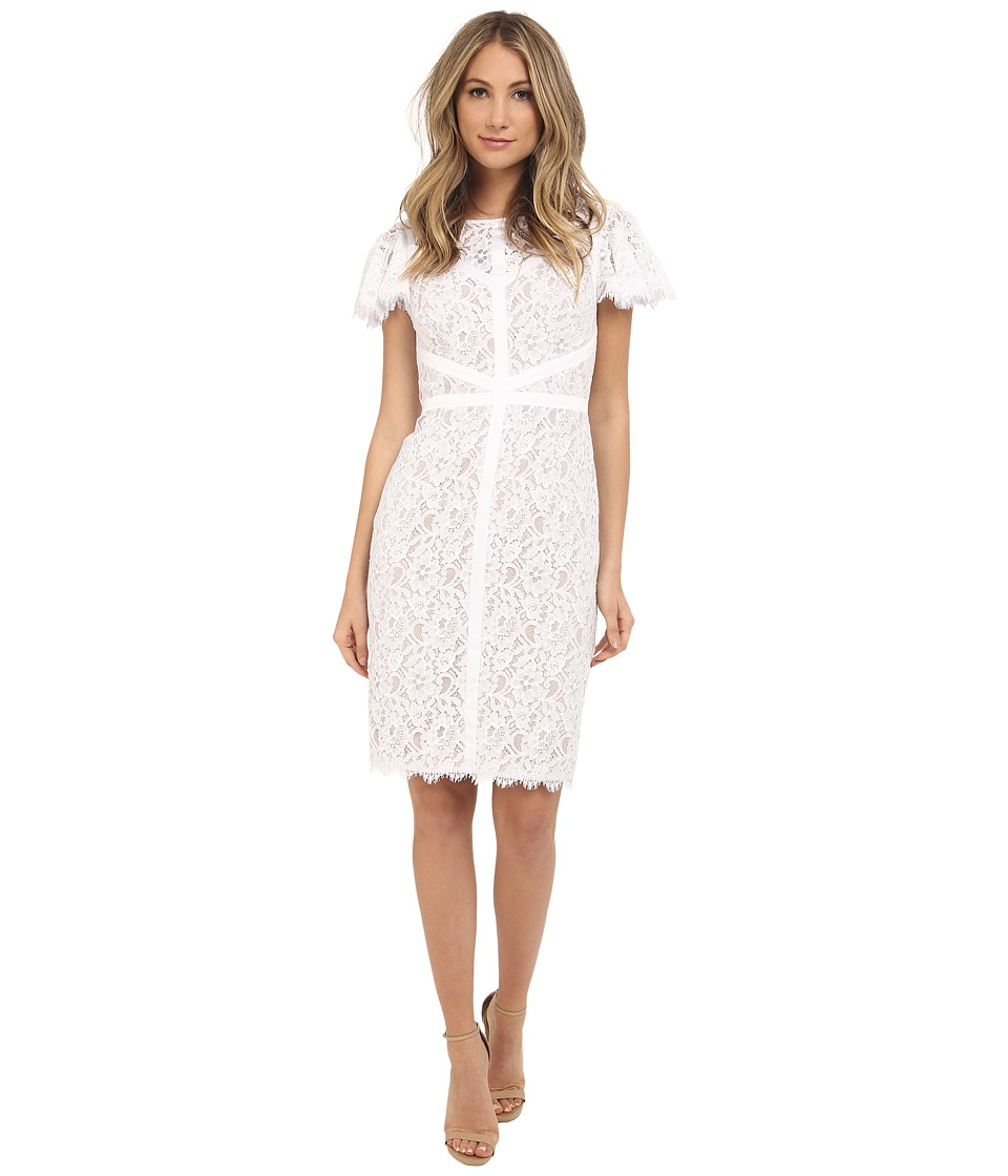 NUE by Shani - Lace Dress with Piping Detail (White/Nude) Women's Dress