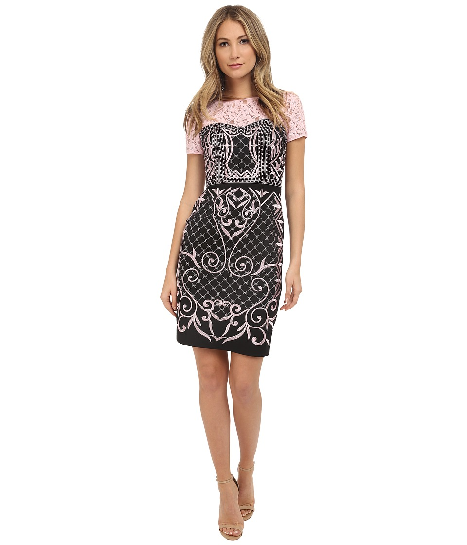 NUE by Shani - Crepe Dress with Embroidery and Lace Yoke (Black/Petal) Women's Dress