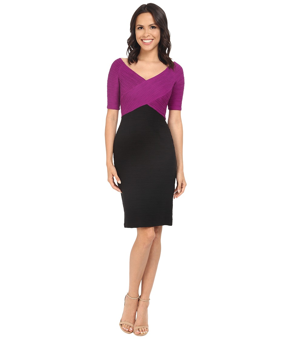 NUE by Shani Color Blocking Knit Dress (Black/Berry) Women