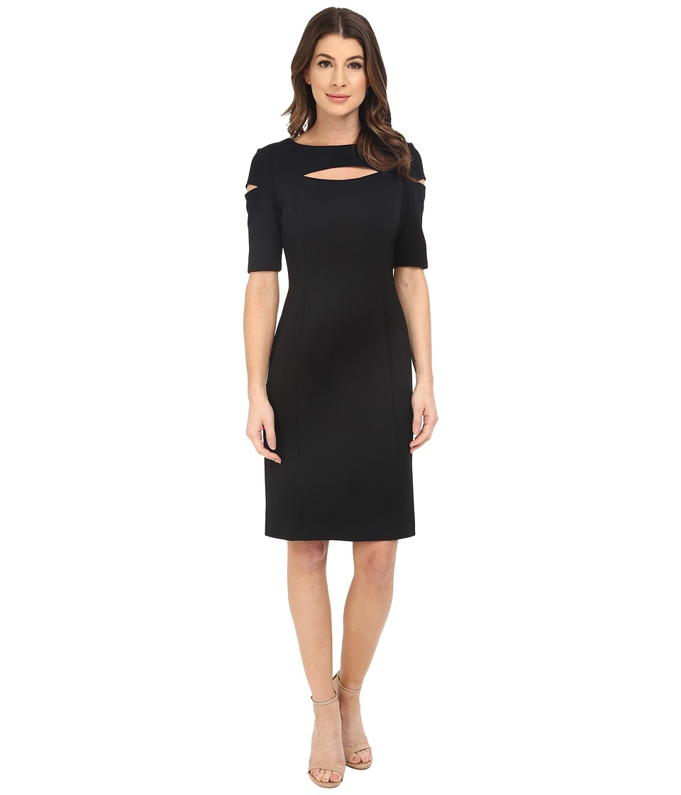 NUE by Shani - Knit Dress with Keyhole and Cut Out Detail (Black) Women's Dress