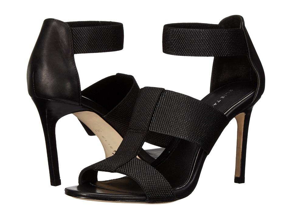 Tahari - Elie Tahari - Seneca (Black Elastic/Black Calf Crust) High Heels