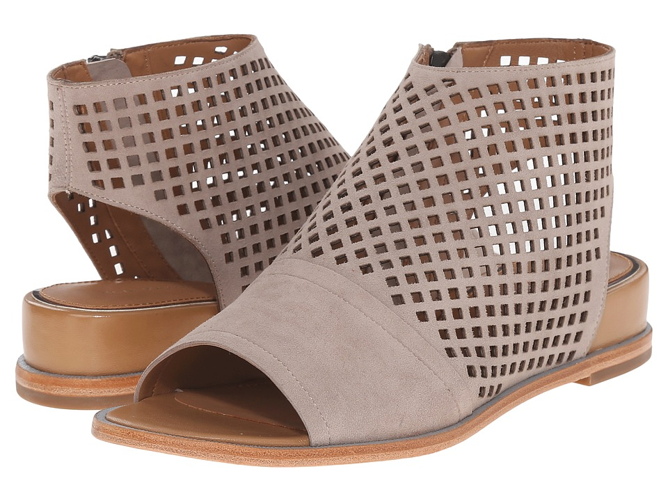 Tahari - Elie Tahari - Venice (Taupe Kid Suede/Cuoio Sheep Nappa) Women's Dress Sandals