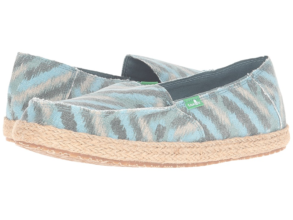 Sanuk - Funky Fiona (Dusty Teal Zigzag) Women's Slip on Shoes