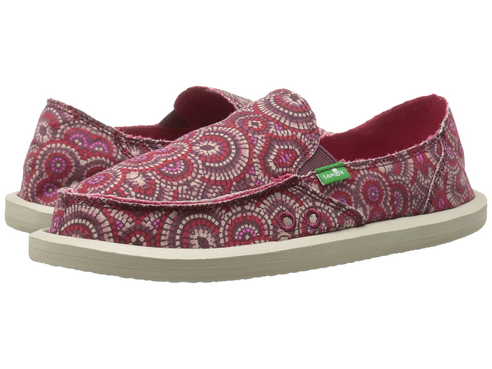 Sanuk - Donna (Burgundy Multi Radio Love) Women's Slip on Shoes