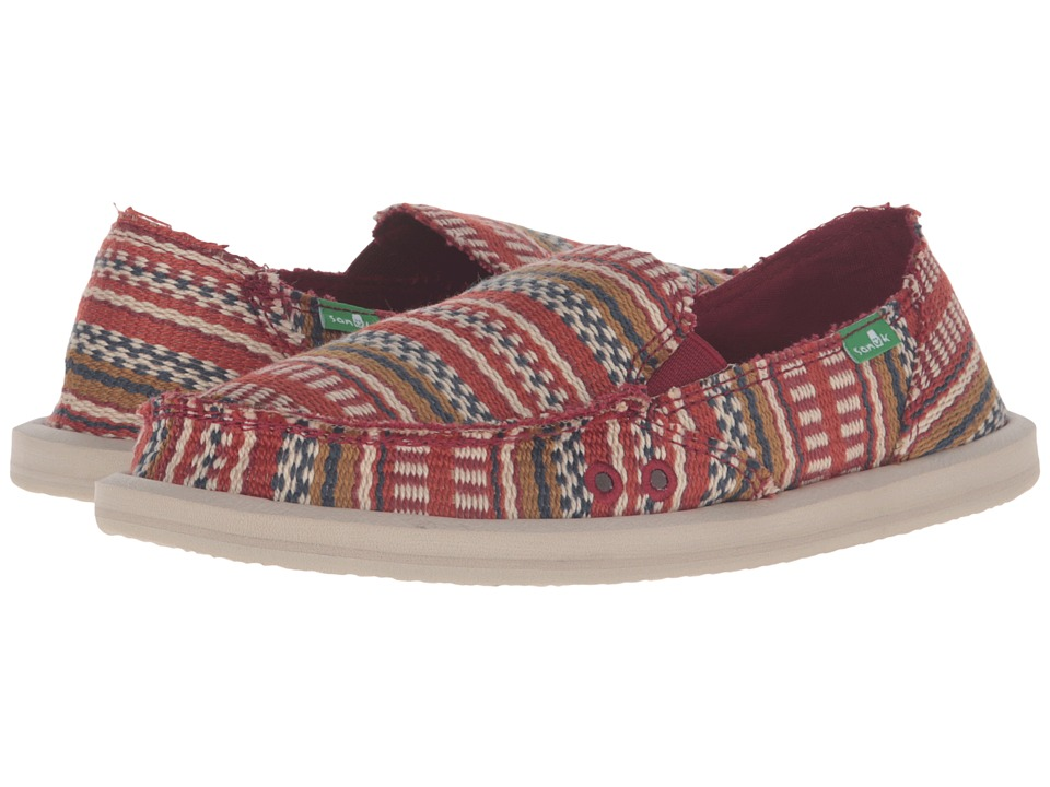Sanuk - Donna Blanket (Burgundy Bayridge Blanket) Women's Slip on Shoes