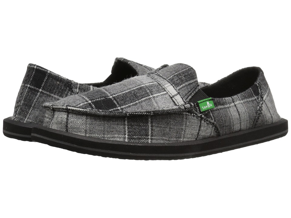 Sanuk - Pick Pocket Plaid (Black Plaid Vest) Women's Slip on Shoes