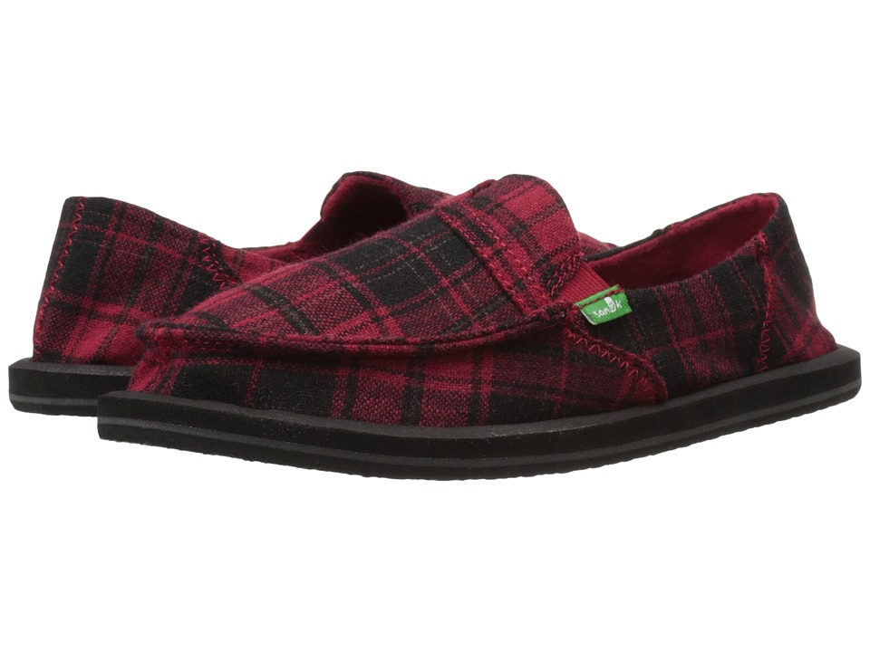 Sanuk - Pick Pocket Plaid (Red Plaid Vest) Women's Slip on Shoes