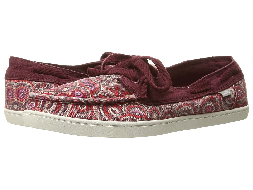 Sanuk - Pair O Sail Prints (Burgundy Multi Radio Love) Women's Lace up casual Shoes