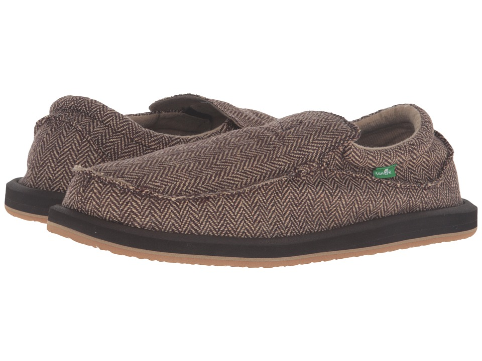 Sanuk - Chiba TX (Brown Herringbone) Men's Slip on Shoes
