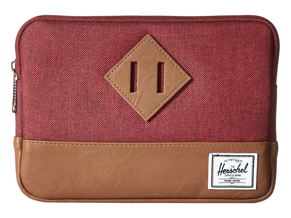 Herschel Supply Co. - Heritage Sleeve For iPad Mini (Winetasting Crosshatch/Tan Synthetic Leather) Computer Bags