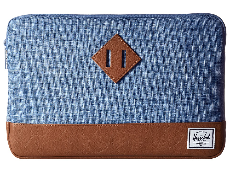 Herschel Supply Co. - Heritage Sleeve for 12inch MacBook (Limoges Crosshatch/Tan Synthetic Leather) Computer Bags