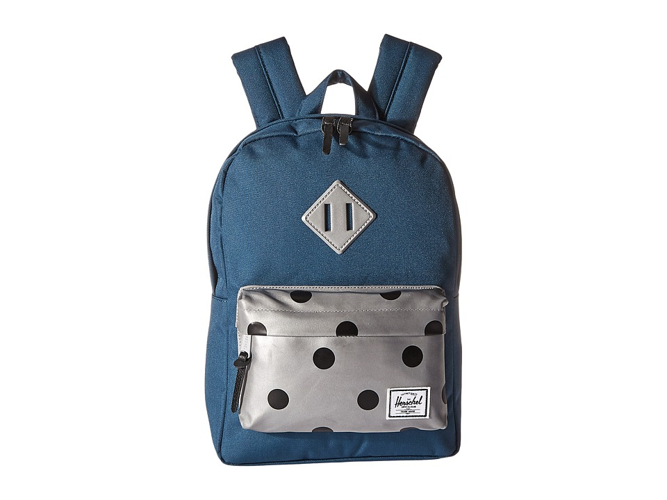 Herschel Supply Co. - Heritage Kids (Little Kids/Big Kids) (Indian Teal/Grey 3M Polka Dot/3M Rubber) Backpack Bags