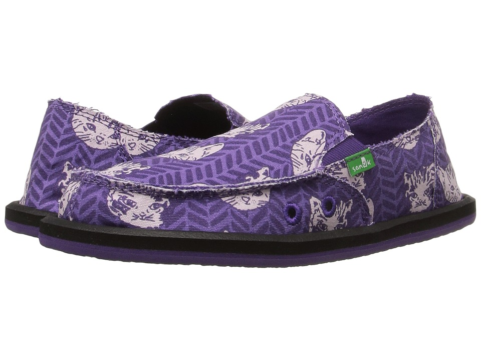 Sanuk Kids - Donna Lil Icon (Little Kid/Big Kid) (Purple Right Meow) Girls Shoes