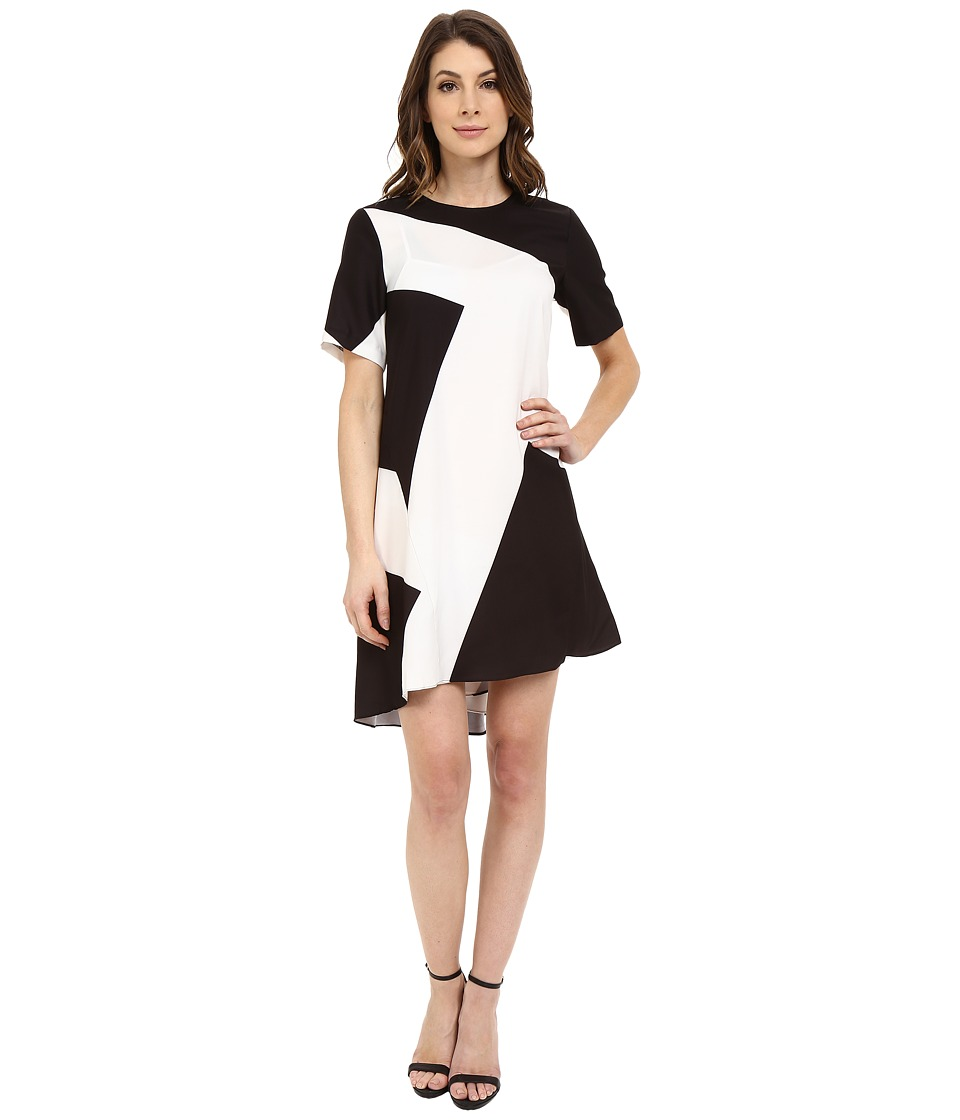 Donna Morgan - Short Sleeve Charmeuse High-Low Trapeze (Black Multi) Women's Dress